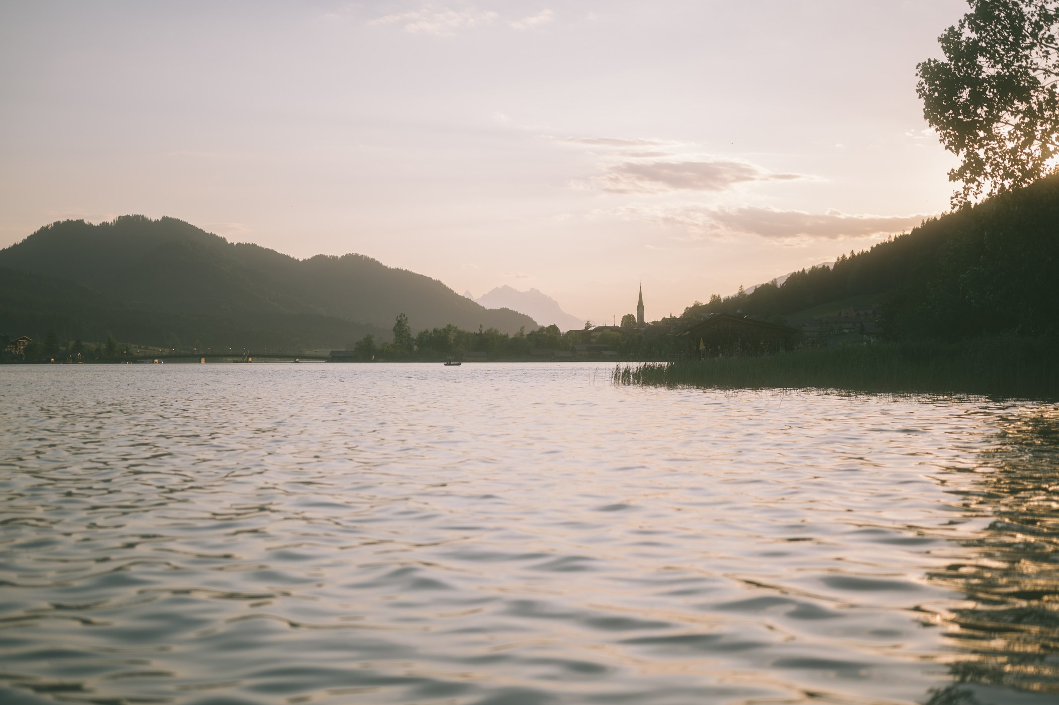 Sunset at lake Weissensee