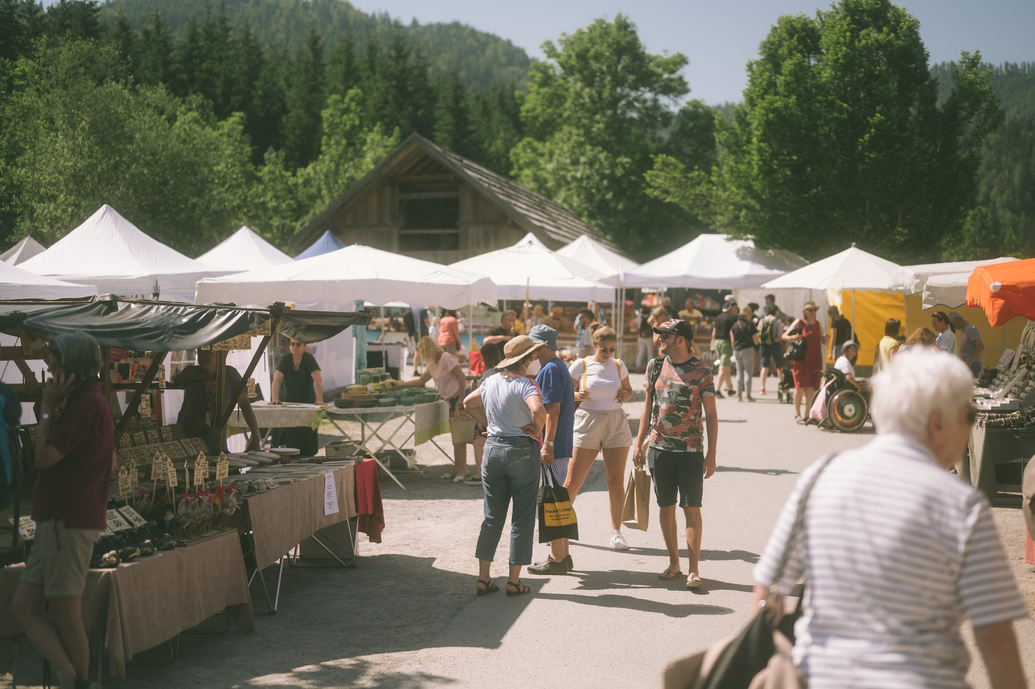 Weissensee weekly market - easily reached by bicycle from Strandhotel Weissensee
